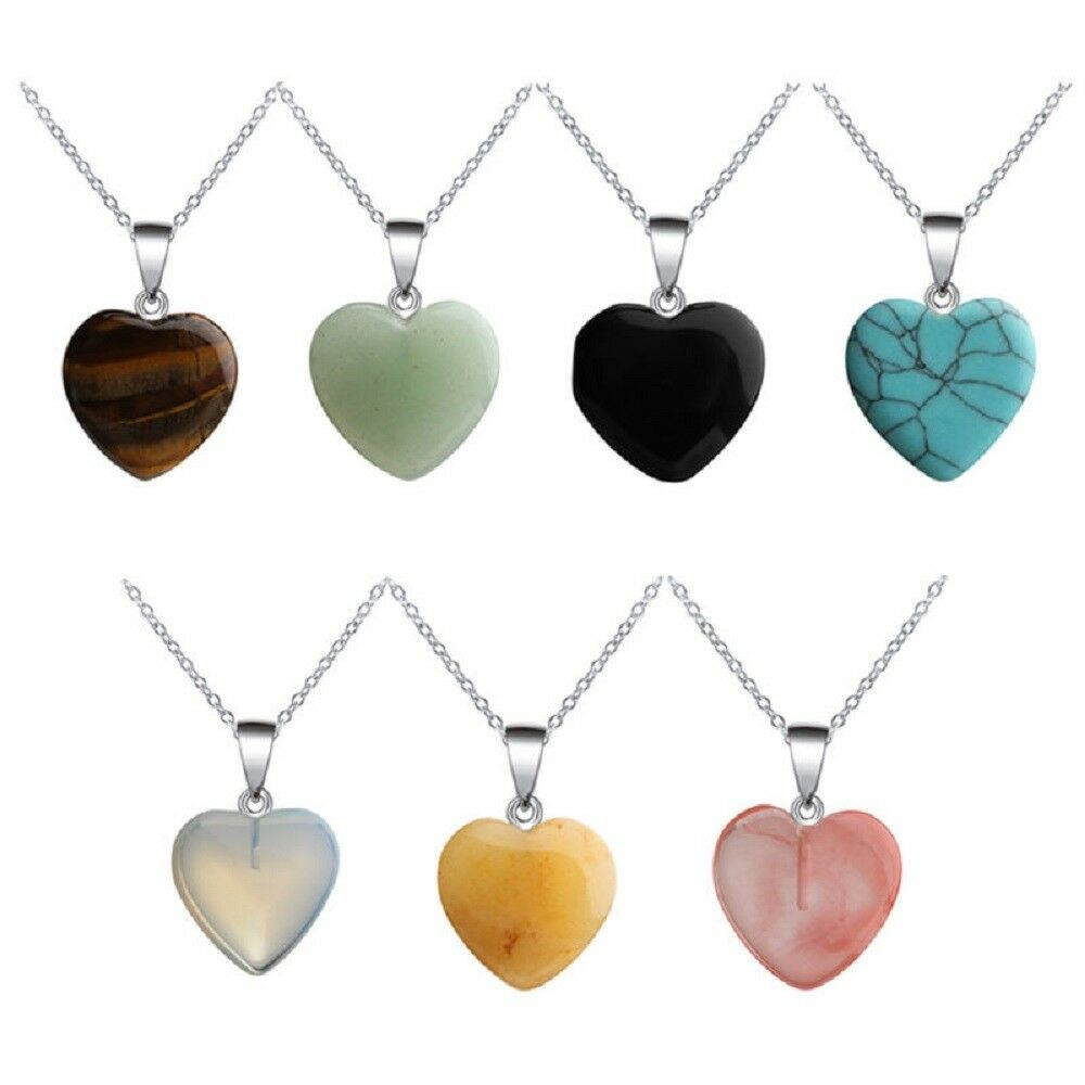 Jewellery - Heart Gemstone Natural Quartz Crystal Healing Chakra Stone Pendant + Necklace