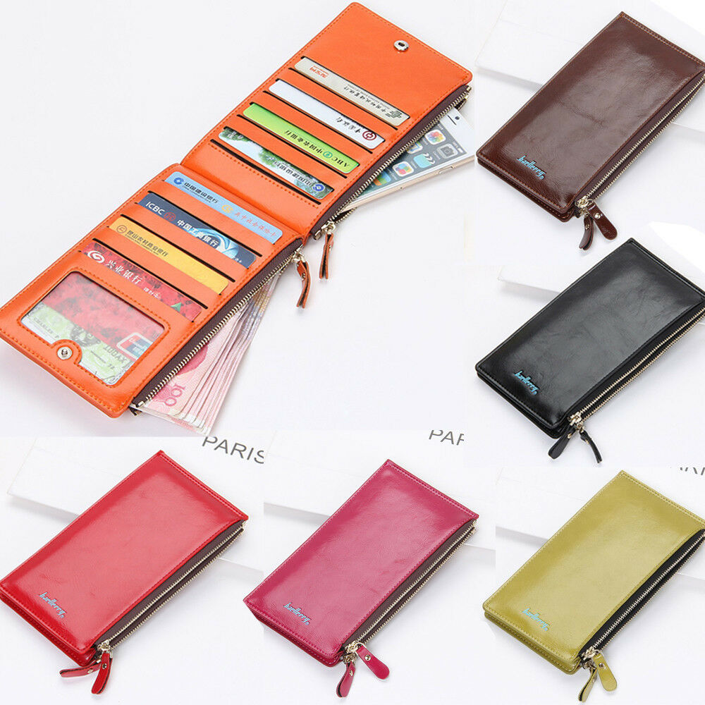 US FAST Womens Luxury Leather ID Credit Card Holder Clutch Bifold Purse Wallet Clothing, Shoes & Accessories