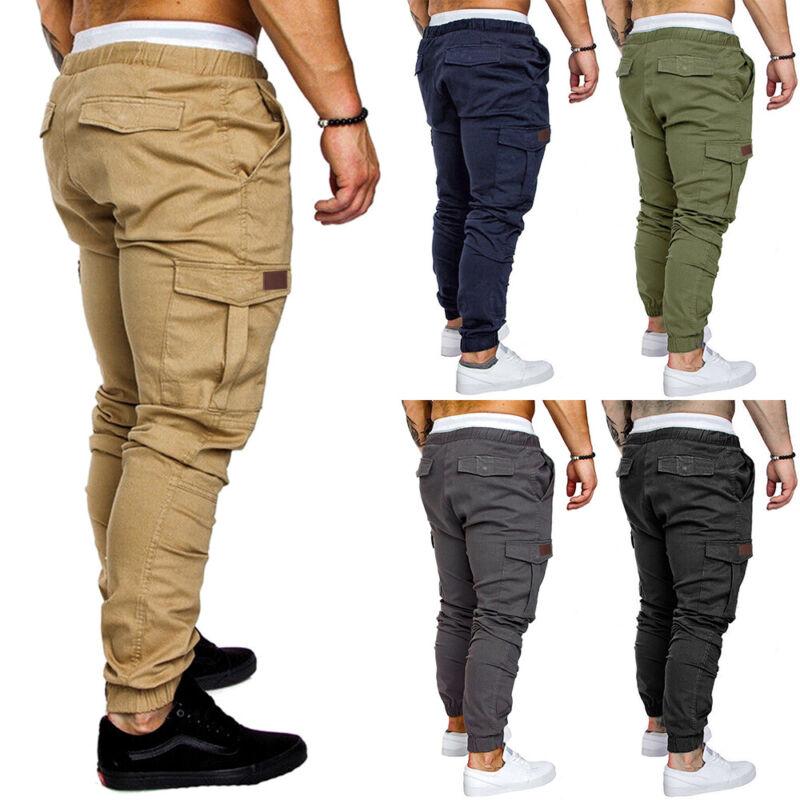 ❤️men Elastic Waist Slim Trousers Casual Cargo Work Combat Joggers Bottoms Pants