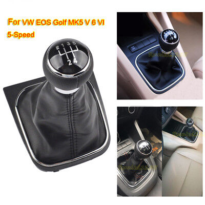 5 Speed for VW EOS GOLF MK5 V 6 VI Gaiter Boot Gear Shift Knob Stick Cover Frame