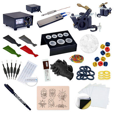 Complete Beginner Starter Tattoo Machine Kit Gun Supplies Set Equipment USA Inks on Rummage