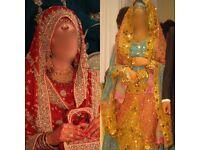 2 DRESSES FOR 1!!! Indian/Pakistani Asian Wedding Walima Waleema Bridal Dress Lengha Red ACCESSORIES