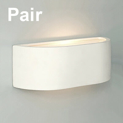 Pair of Mini White Ceramic Curved Modern Indoor Up  Down Compact Wall Lights