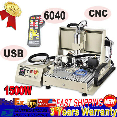 Usb 4axis 1500w Cnc 6040 Router Engraving Wood Drillmilling Machinehandwheel S
