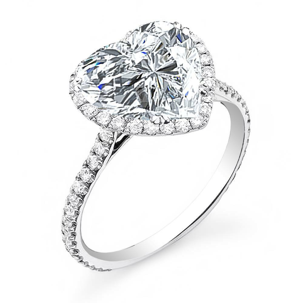 2.20 Ct Natural Heart Cut Halo Pave Diamond Engagement Ring - GIA Certified