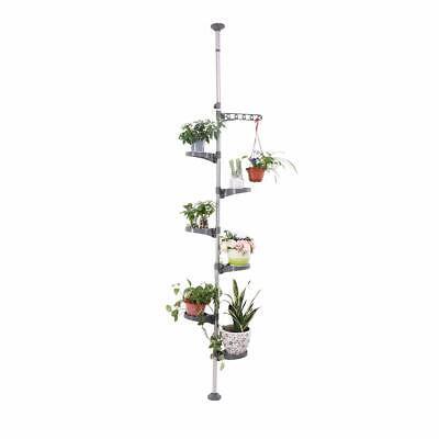 7 Tier Indoor Plant Stand Flower Pot Display Shelf Tension Rod Bath Storage Rack