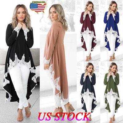 Womens Dressing - Womens Long Sleeve Lace Ruffles Asymmetrical Casual Tops Shirt Blouse Mini Dress
