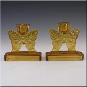 Bagley-1930s-Art-Deco-Amber-Glass-Butterfly-Candlesticks
