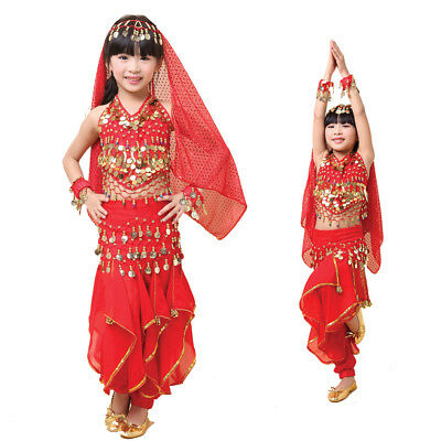 Themed Dance Costumes (Children Belly Dance Perform Costumes Top Pants Suit Indian Theme Party)