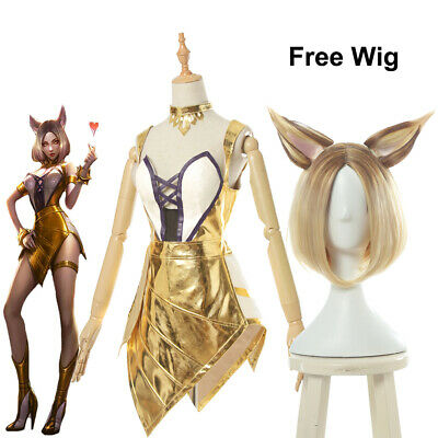LOL League of Legends KDA Ahri Prestige Cosplay Kostüme Golden Kleid Free Wig