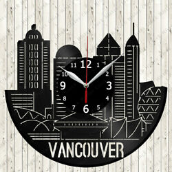 Vancouver Skyline Vinyl Record Wall Clock Decor Handmade 6838