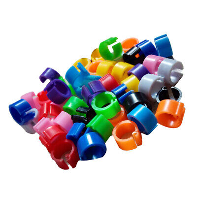 100-Pcs 7mm Height Plastic Chicks Rings Clip Poultry Leg Band Bird/Pigeon Parrot