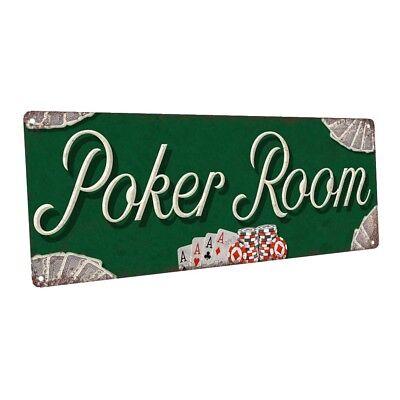 Poker Room Metal Sign; Wall Decor for Mancave, Den, or Gameroom