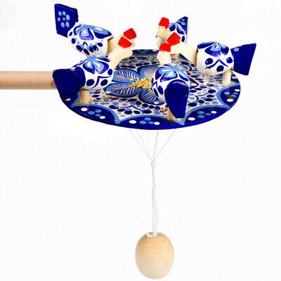 Russian Pecking Chickens Wooden Toy Vintage Style Gzhel Bogorodskaya Ethnic Toy