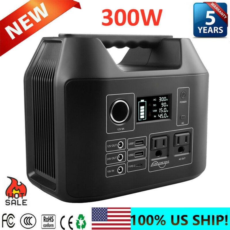 300W 80000mAh Portable Power Station Backup Lithium Battery Source Power Supply
