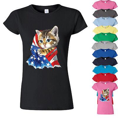 American Flag Kitty Womens Tshirt Cat in American Flag Lady Tee Shirt KITTY (Cat With American Flag)