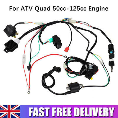 Wiring Harness Loom Solenoid Coil Rectifier CDI 50 70 110cc 125cc ATV Quad Bike