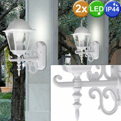 Set of 2 LED House Wall Lamps Porch Lights ALU Outdoor Lighting Lanterns white