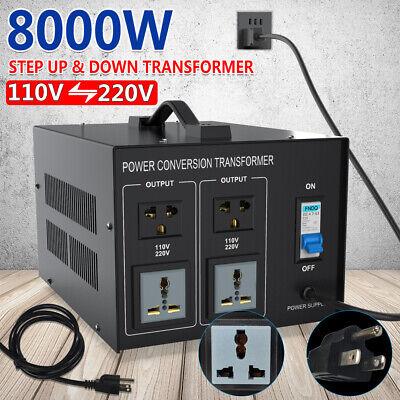 Heavy Duty 8000W Voltage Converter Volt Transformer Step UP/Down 220V to 110V US