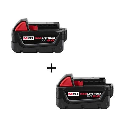 (2) GENUINE New 18V Milwaukee 48-11-1850 5.0 AH Batteries M18 XC18 48-11-1852
