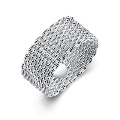 18K White Gold Plated Mesh Design Ring (18k Gold Plated Mesh)