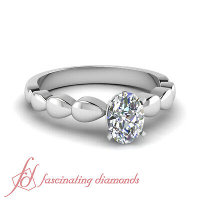 .70 Ct Oval Shaped Diamond Solitaire Metal Drop Engagement Ring SI2-D Color GIA