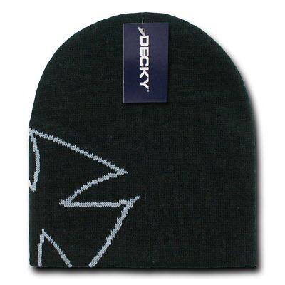 Black White Chopper Maltese Beanie Knit Cap Skully Hat Winter Iron Cross Biker
