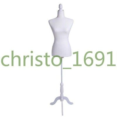 New Female Mannequin Torso Dress Form Display With Tripod Stand White