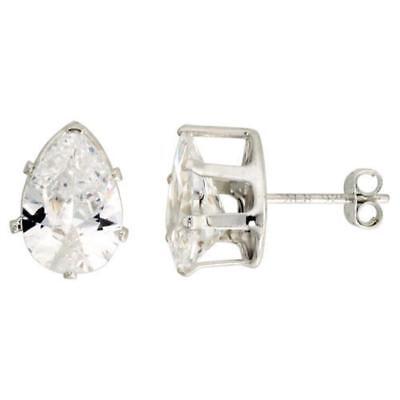 Teardrop Shape Earrings (Sterling Silver Stud Earrings w/ Pear Teardrop Shape CZ Stones )