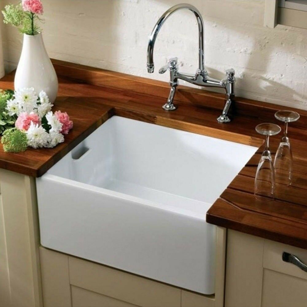 kitchen with belfast sink ceramic belfast butler kitchen sink with weir overflow 6493