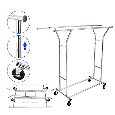 Double Heavy Duty Rail Adjustable Rolling Garment Rack Clothes Hanger Clothing