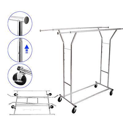 Double Heavy Duty Rail Adjustable Rolling Garment Rack Portable Clothes Hanger