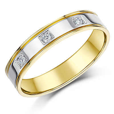 18ct Two Colour Gold Ring Diamond Wedding 4mm - 18 Ct Two Colour
