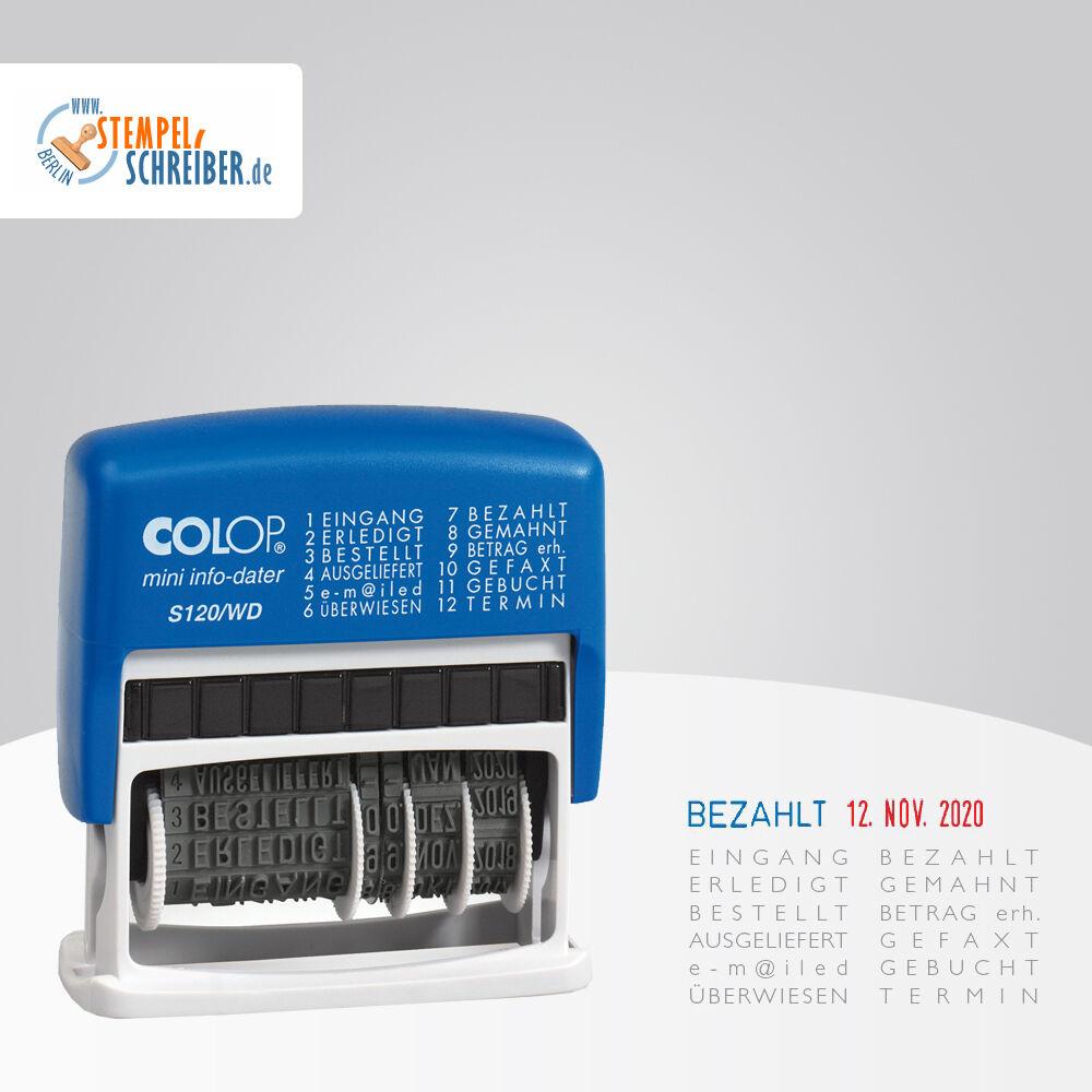 COLOP® Datumstempel mit 12 Fertigtexten Blau/Rot - Eingangsstempel - Datum 4mm