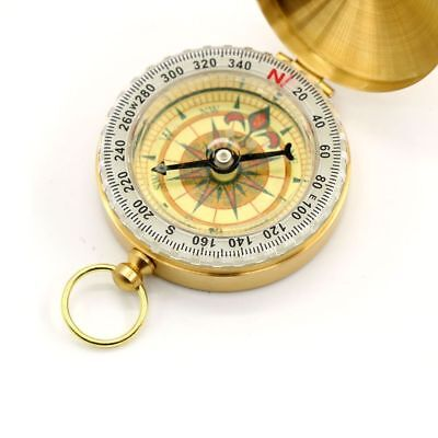 USUN Vintage Noctilucent Compass Brass Pocket Hiking Camping Watch Style Retro