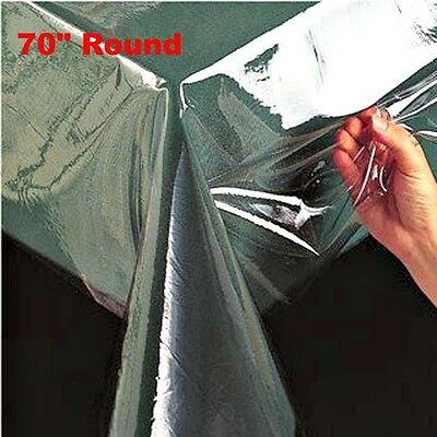 """Super Clear Table Cloth Cover Protects Fabrics 70"""" Round Heavyweight & Durable"""