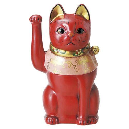 "Japanese Maneki Neko Lucky Cat Beckoning Cat Pottery ""Taisho cat"" Red H 26cm"