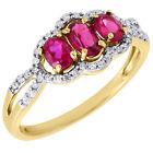 Ruby Yellow Gold 10k Diamond Engagement Rings