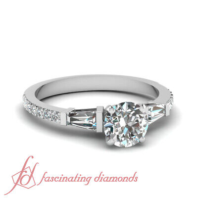 1.25 Carat Round Cut And Baguette Diamond 3 Stone Engagement Rings Pave Set GIA