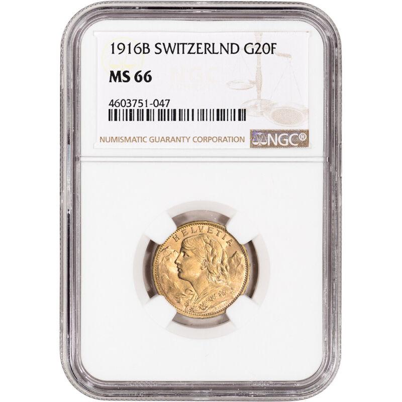 1916 B Switzerland Gold 20 Francs - NGC MS66