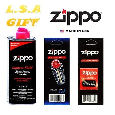 Zippo Lighter 4.oz Fuel Fluid And 1 Flint & 1 Wick Value Combo Gift Set