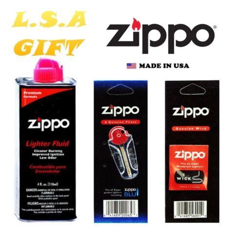 Zippo Lighter 4.oz Fuel Fluid And 1 Flint & 1 Wick Value Com