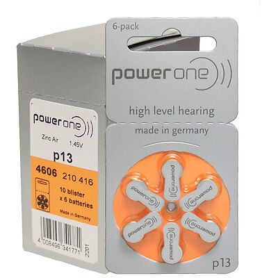 60 Power One Hearing Aid Batteries Size 13  P13