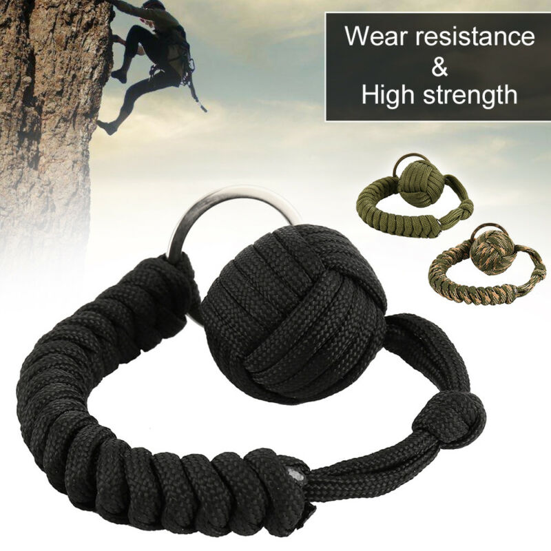 Monkey Fist Paracord Keychain Keyring Military Steel Ball Survival Popular