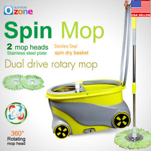 360°Rotating Spinning Mop Wheels Stainless Steel Spin-Dry Bucket w/2 Mop Heads