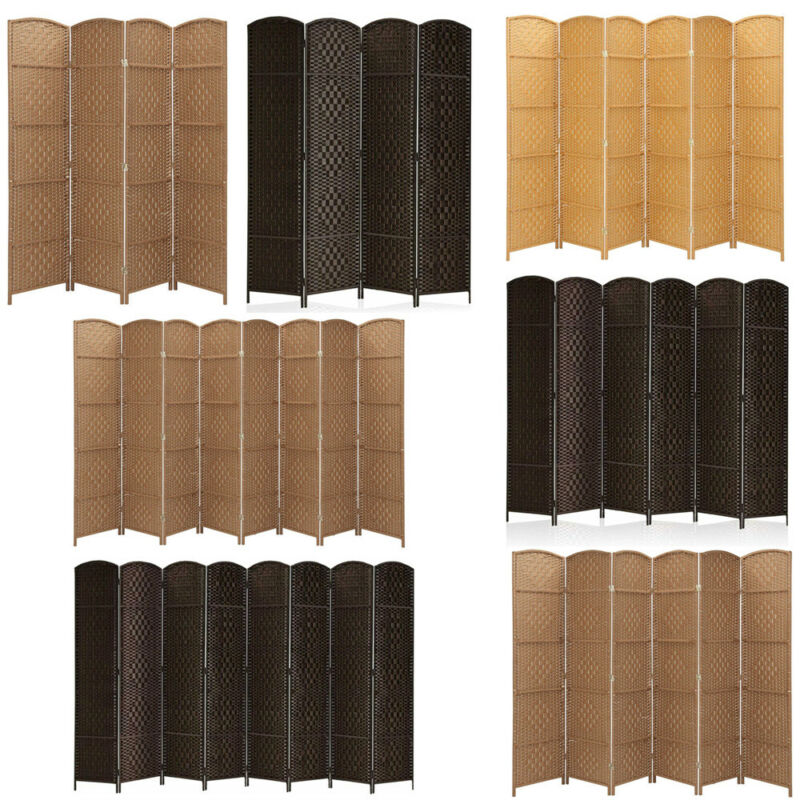 4/6/8 Panel Room Divider Privacy Folding Screen Durable Movable Partition Useful