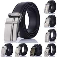 Men Automatic Buckle Belt PU Leather Belts Waist Ratchet Business Waistband