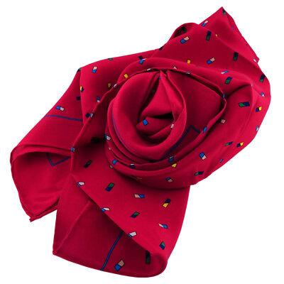 Damen Seidenhalstuch rot dunkelrot mehrfarbig 90 x 90 - Nickituch Schal Seide
