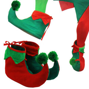 ADULTS ELF BOOTS SHOE COVERS XMAS PIXIE JESTER SLIPPERS CHRISTMAS FANCY DRESS