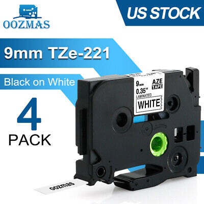 4pk Tz-221 Tze-221 Black On White 9mm Label Tape For Brother P-touch Pt-d210